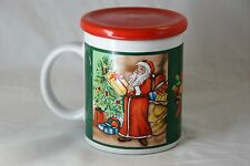 Christmas Holiday Santa Mug with Lid Ceramic Bells