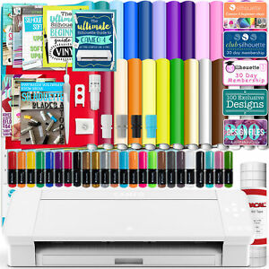 Silhouette White Cameo 4 w/ 26 Oracal Glossy Sheets, Guides, 24 Sketch Pens