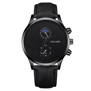 Montre de luxe en cuir Ultra-mince pour hommes, montre-bracelet analogique à...