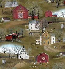 Headin' Home Fabric Amish Barn Farmhouse Covered Bridge Elizabeth's Studio YARD