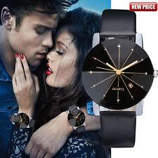 UK Hot Men Women Stainless Steel Quartz Date Sport Leather Band Dial Wrist Watch