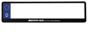 2 x TOP BLACK NUMBER PLATE SURROUND HOLDER FRAME - FOR MERCEDES-BENZ AMG