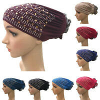 Women Flower Hijab Cap Headwear Muslim Turban Headwrap Hat Scarf  Hair Loss Caps