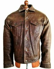 Vtg Mens GAP LEATHER Trucker Western Sherpa Biker Flight Jacket Coat Jeans Med