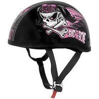 Skid Lid Lethal Threat Designs Womens Bad To The Bone Half Helmet HARLEY BOBBER