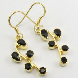 Gold Plated BLACK ONYX Earrings 3.6 cm 925 Sterling Silver Art Deco