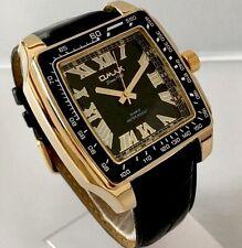 Mens Classic Wrist Watch Black Leather Strap Gold Luxury New Swiss Omax Designer