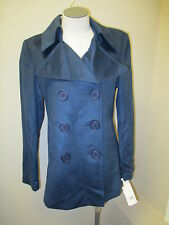 High End Department Store Cashmere Pea Coat S Blue NWT $675