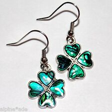 GORGEOUS GREEN 4H SHAMROCK CLOVER ABALONE PIERCED EARRINGS B7c Free Ship
