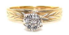 14K TWO-TONE GOLD RING w. 7 ROUND CUT DIAMONDS