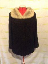 "Vintage ""Flemington Furs New Jersey"" Black Lambswool With Gray Fur Collar Coat"