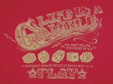 Lucky Brand Made in USA Red Med T-Shirt Life is a Gamble Dice Skulls SHIPS FREE
