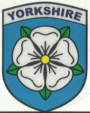 Yorkshire County White Rose Flag Shield Shape Internal Car Window Sticker Decal