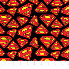 Marvel Superman Logo in Red Camelot 100% cotton flannel fabric by the yard