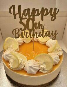 Custom Cake Topper Happy 50th Birthday Glitter Any Words, Date, FREE UK P&P