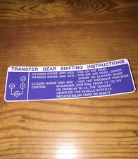 78-83 Toyota Pickup Truck Transfer Case Instructions Decal Sticker Glove Box Rep