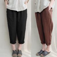 Coton Femme Casuel Loose Taille elastique Solid Longue Pantalons Sarouel Plus