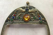 Antique Vintage Jeweled Brass Purse Frame With Peacocks & Rhinestones