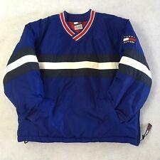 Tommy Hilfiger Puffer Jacket Kids Boys Coat Pullover V-Neck Flag Patch Blue Sz 7