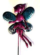 "Garden Stake Fairy Fuchia Layered Wings Decor True Living Outdoors Metal 21"" New"