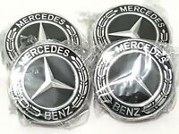 4xMercedes Black Alloy Wheel Centre Hub Caps AMG A B C  S M Class ML CLA GLA SLK