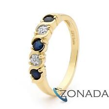 3mm Round Sapphire Diamond 9ct 9k Solid Yellow Gold Eternity Ring Size P 7.75