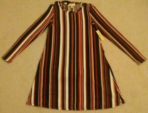 New Derek Heart Women Small Multi-Color Striped Polyester Blend Dress With Scarf