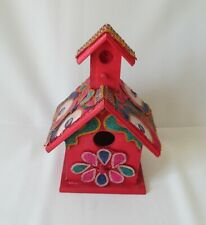 Vintage Wooden Folk Art Bird House w/Traditional Indian Embroidery ~Tree Jewelry