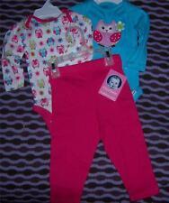New Gerber Girl's 3PC Long Sleeve Onesies & Pants Set, 24 Months