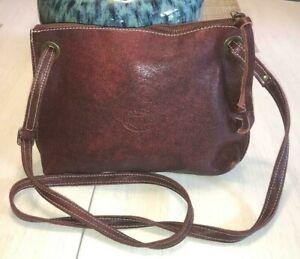ROOTS Canada Leather Crossbody Bag Rustic Burgundy Textural EUC