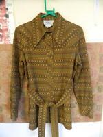 Vintage 1970s H-Bar-C Patterned Western Shirt w/ Tie Belt