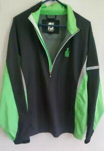 FootJoy Dryjoys HydroLite FJ Half Zip Golf Rain Jacket Mens L Black/Green/Grey