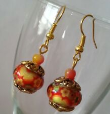 Murano Glass Lampwork Earrings Charm Bead Dangle Gold Plated European Style