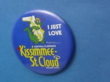 KISSIMMEE ST CLOUD FLORIDA RESORT AREA ALLIGATOR BUTTON PIN BACK SOUVENIR