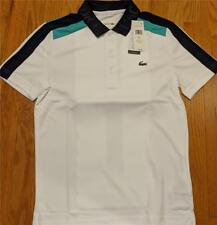 Mens Authentic Lacoste Ultra Dry Pique Polo Shirt White/Navy/Papeete 7 (2XL) $98