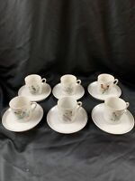 VTG ROYAL CROWN PORCELAIN BIRD & FLORAL Mini Tea Cups/Saucers ~ SET OF 6 JAPAN