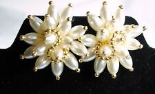 VINTAGE HUGE PAGEANT RUNWAY WHITE  & GOLD  FLOWER  EARRINGS
