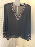 Catherine Malandrino Black Embroidered Blouse Size Large
