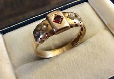 Beautiful Ladies Antique 1904 Chester Lovely Solid 9CT Ruby & Pearl Ring - S 1/2