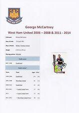 GEORGE McCARTNEY WEST HAM UTD 2006-2008 & 2011-14 ORIGINAL SIGNED MERLIN STICKER