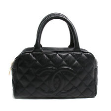 Chanel Black Quilted Caviar Small Leather Bowler Bag