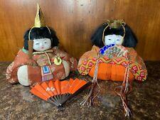 VINTAGE JAPANESE Hina Kimekomi  Emperor and Empress SILK DOLLS SET w/FAN