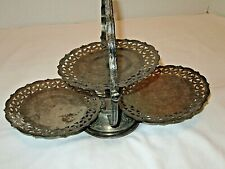 Vintage 3 tray folding dessert serving stand silver plate?