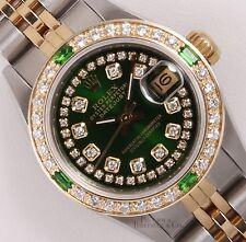 Rolex Lady Datejust 2 Tone 18k-Green String Diamond Dial-Emerald Diamond Bezel