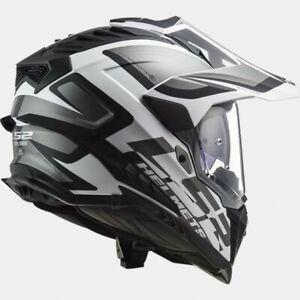 L Large LS2 MX701 Explorer Adventure Motorbike Helmet Matt Black White