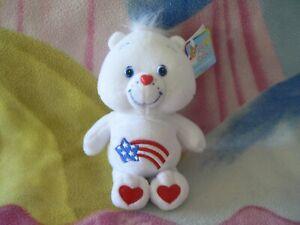 "NWT 8"" RED WHITE BLUE AMERICA CARES Original Ed CARE BEAR BOY GIRL PLUSH TOY"