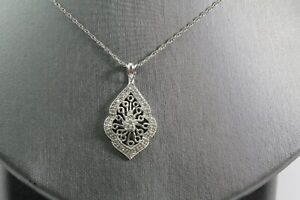 "Antique Vintage Art Deco 14k White Gold Filigree Diamond Pendant 18"" Necklace"