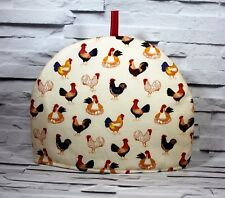 Tea Cosy Rooster Hens Cream Quilted Handmade by Jo Sews Crafts Tea Pot Cover