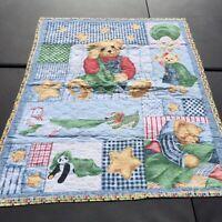 "Blue Jean Blankie Bear Patch Quilt Handmade Crib Blanket Comforter 42"" x 34"""