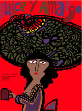 Movie Poster for film DULCE y amargo.Sweet coffee.Big hat.Room art decor design